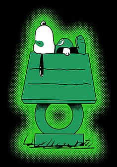 Snoopy as The Green Lantern.