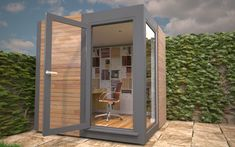 You will have choices about the external finishes and where the door is positioned. Small Garden Office Pod, Smart Garden Offices, Garden Home Office, Tiny Home Office, Shed Office, Office Pods, Home Office Layouts, Backyard Office, Inside Garden
