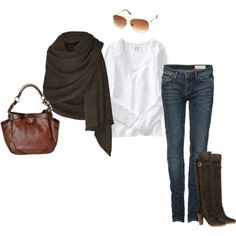 wrap shawl + dressy blouse + jeans + knee high boots + sunglasses + leather brown bag
