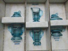 Boyd's Crystal Art Glass Children's Lamb Set In Original Box, Blue Glassware  #BoydsCrystalArtGlassInc