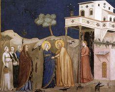 Giotto, Lower Church Assisi, The Visitation  - Visitazione (Giotto) -La Visitazione di Giotto e bottega nel transetto destro della basilica inferiore di Assisi