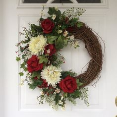 Valentine's Day Wreath-Spring Wreath-Wreath-Ivy Wreath-Red Rose Wreath-Front…