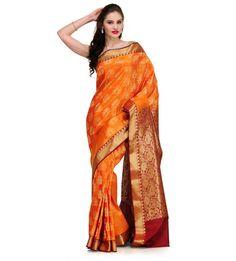 Orange Silk Jacquard Saree with Zari Border | Fabroop USA