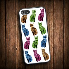 iphone5 case cat, iPhone 4 case cat, Case for iPhone 5 and 4 - cat iphone case, cool funny colored cats case