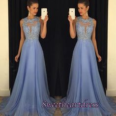 Modest prom dress long, unique long prom dress, light blue prom dress for teens, backless long prom dress, purple prom dress 2016 #coniefox #2016prom