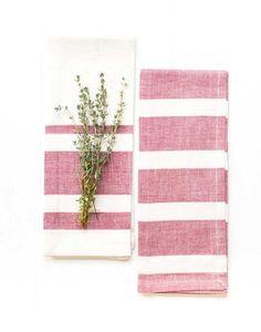 Fair Trade Red & White Striped Tea Towels
