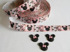 "Minnie Mouse Ribbon and Resins 3 yards of 1"" Pink Black Grosgrain Minnie's Bowtique & 3 Matching Blingy Resins Birthday Favor Ties Hair Bows by HouseofHairDecor on Etsy"