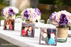 Pictures are a great alternative to place settings.  This couple used childhood pictures of their attendants!