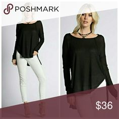 Fall Ready Black Hi Low Top Fabric   50% Polyester  45% Rayon 5% Spandex Tops Tees - Long Sleeve