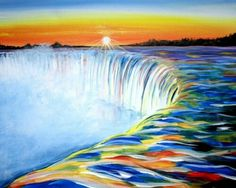 Rainbow water Niagara Falls painting.