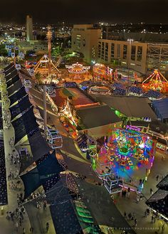 Birds eye view of the midway and Cotton Bowl, Texas State Fair in Dallas. I'm ready for the State Fair to open in Oct. Fair Rides, Only In Texas, Another A, Loving Texas, Texas Pride, Lone Star State, Texas Homes, Texas Travel, Stars At Night