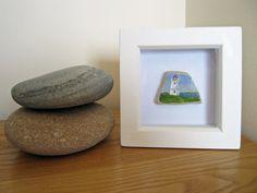 Lighthouse Miniature Painting on Scottish Sea Pottery Framed