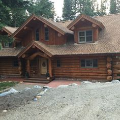 PINNED FOR LOG COLOR - Another cabin near our property. Note that logs look like natural wood - not shiny,  do not want any gloss at all! Stain just for protection and color - cannot look shiny (glossy) at all!!!!