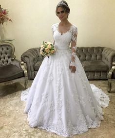 Prom Dress For Teens, Stylish Ball Gown V-neck Long Sleeves Court Train With Applique Satin Wedding Dresses cheap prom dresses, beautiful dresses for prom. Best prom gowns online to make you the spotlight for special occasions. Western Wedding Dresses, Wedding Dress Train, Luxury Wedding Dress, Sweetheart Wedding Dress, Princess Wedding Dresses, Wedding Dress Sleeves, Tulle Wedding, Cheap Wedding Dress, Bridal Dresses