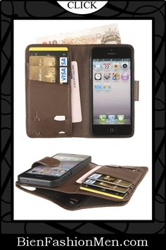 Mens iPhone Wallet ♦ iPhone Case ♦ Fonerize Mens Leather Wallet and iPhone 5 Case plus Card Holder with Strap in Earth Brown $29.95