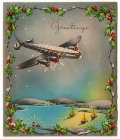 Vintage Greeting Card Christmas Airplane WWII era 1940s (O295)