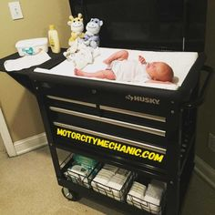 'Wife finally gave in and let me buy 'baby furniture.' (Tool Cart) Feast your eyes on the Ultimate Diaper Changing Stati Baby Nursery Diy, Baby Boy Rooms, Baby Boy Nurseries, Baby Room, Diy Baby, Modern Nurseries, Nursery Ideas, Project Nursery, Nursery Room