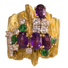 1970s Henry Dunay Diamond Emerald Amethyst Gold Ring | From a unique collection of vintage cocktail rings at https://www.1stdibs.com/jewelry/rings/cocktail-rings/