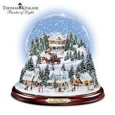 Christmas Snow Globes   Thomas Kinkade Victorian Christmas Village Snowglobe CHECK PRICE