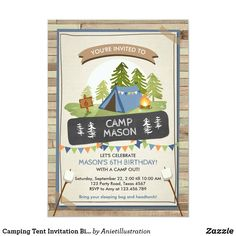 Camping Tent Invitation Birthday Camp out Boy Camping Parties, Camping Theme, Tent Camping, Camping Ideas, Camping Hacks, Outdoor Camping, Diy Camping, Camping Checklist, Custom Invitations