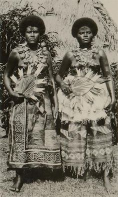 Vintage image of women from the Fiji Islands; date and further provenance unknown. We Are The World, People Of The World, My People, Tonga, Tahiti, Bora Bora, Fiji People, Fiji Culture, Kings & Queens