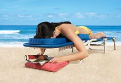 $150 beach lounger.  It's like a massage chair for the beach!