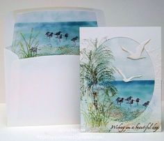 reminds me of SU Wetlands and Couture Creations Sea Breeze Nautical Cards, Beach Cards, Penny Black, Bird Cards, Stamping Up Cards, Scrapbooking, Watercolor Cards, Masculine Cards, Card Tags