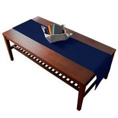 table  Table. any make Ribbed Solid drab table runner table Blue blue Navy will runner navy