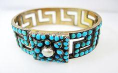Victorian Turquoise and Pearl Bracelet  #antiquebracelet