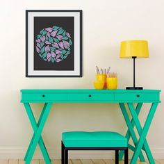 Poster Print   Winter Wind  For Your Home by PomGraphicDesign, $17.00 #leaves #turquoisedecor #turquoise #lilac #nature #wind #poster #forthehome #interiordesign