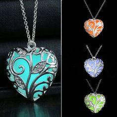 10pcs Vintage Glow in the Dark Pendant Necklace Shellhard Luminous Hollow Locket Heart Choker Necklace Female Fashion Jewellery #Affiliate