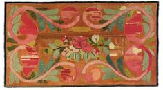 A COTTON AND WOOL HOOKED RUG, American, 19th century