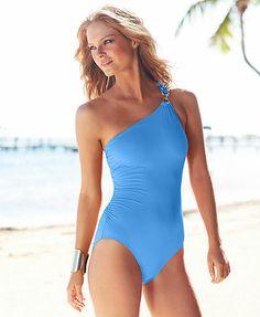 MICHAEL Michael Kors One-Shoulder Asymmetrical One-Piece Swimsuit