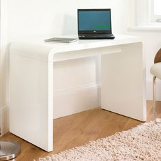 Hudson computer desk rectangular in white high gloss, this computer desk will give an impressive look and is perfect for your study or home office - 34601 home & office computer desk table, modern & contemporary. Storage with drawers, white high. Home Office Computer Desk, Home Office Chairs, Office Furniture, Curved Desk, White Desks, Drawer Unit, Desk Space, Modern Desk, High Gloss