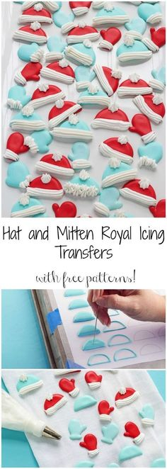 Hat and Mitten Royal Icing Transfers Free Printable Patterns for Hat and Mitten Royal Icing Transfers icing Icing Frosting, Cookie Frosting, Royal Icing Cookies, Chocolate Frosting, Royal Icing Templates, Royal Icing Transfers, Fancy Cookies, Xmas Cookies, Owl Cookies
