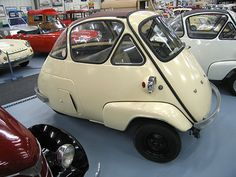 1957 Velam Isetta. Built under license from ISO in a part of the Talbot sports car factory, it varied from the original in 34 items.  The frame was changed to only subframes, rubber band suspension, better shifter, steering, motor access from inside, tail shape, high lamps, bumpers and separate front fenders were among the major changes, but the motor remained ISO's.  The body and interior design was beautifully executed with French style, flair and attention to detail.