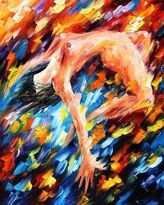 twisted dance (by Leonid Afremov)  1950년대 생 후기 인상파인 레오니드 아프레무브의 작품이다. 그는 스스로 석유, 나이프,팔레트, 페인트와 사랑에 빠졌다고 말한다. 그가 추구하는 예술은 인간의 우울한 감정을 해소시켜 주는데 그 목적이 있다. 그는 특히 인간성에 의해 촉발되는 감성, 감정,열정을 강조하는데 그래서인지 그의 그림 속에는 다양한 색감이 들어가 있고, 자유로운 터치들이 보인다. 또한 특히 이 그림에서 전라의 모습이 열정적인 모습을 더욱 강조해준다.