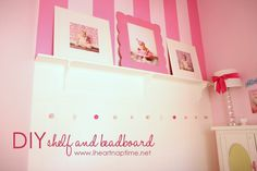 I think this is just the cutest idea EVER for a girls room! Looks pretty easy; I love the shelves and the corbels!
