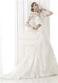 A line Jewel Neck Lace Floor Length Court Train Wedding Dress With Sash/ Ribbon - Lunadress.co.uk
