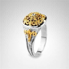 Konstantino Diamond Accent Filigree #Ring in 18K #Gold and Sterling #Silver