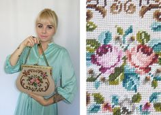 Vintage 1970's Handbag/ Needlepoint Tapestry by SundayGirlFinds, $52.00