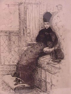 Victorian engraving of a woman traveling in a first-class train compartment