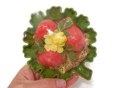 NOS Plastic Leaf Soap Dish and Strawberry Guest by melmacparadise,