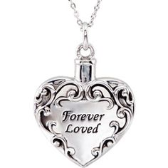 "Sterling Silver Forever Loved Heart Ash Holder  | Stuller  | #65077:1010:P | Available in Sterling Silver Only | This item comes with an 18"" chain, black pouch, funnel, gift box, and a card with inspiration and verse from scripture.