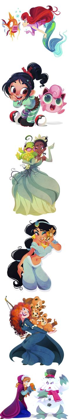 Disney characters as Pokemon trainers by Kuitsuku