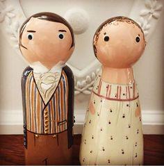 Elizabeth Bennett and Mr Darcy, Pride and Prejudice. Wooden peg doll cake topper keep sake gifts
