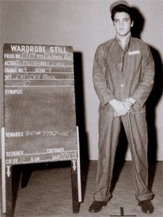 Elvis wardrobe test on the movie set of Jailhouse rock in may 9 1957.