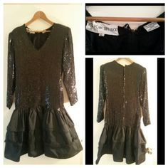 Vintage New York Diffusion Dress 100% silk, black sequins and drop waist. Purchase in the late 80's. Been in storage. Great condition. New York Diffusion Dresses Long Sleeve