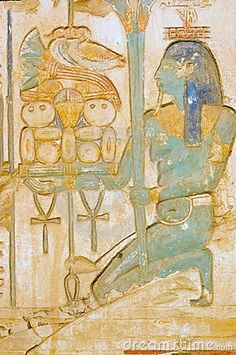 Blue Isis goddess with food tray