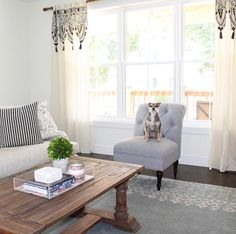 Light and bright living room space in neutral grays.  Curtains from Anthropologie Home, Couch from Restoration Hardward, Pillows from Ikea, Rug from Pottery Barn and Chair from Target. www.lauradrodesigns.com @lauradrodesigns